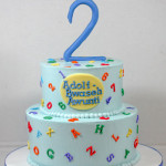 Alphabet and numbers birthday buttercream cake