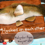Bass fish hooked on each other wedding cake