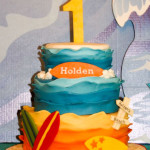 Beach surfing sand waves birthday cake