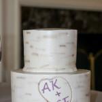 Birch tree caved initials buttercream wedding cake