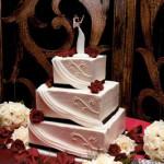 Black red and white draping wedding cake