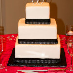 Black rhinestone square fondant wedding cake