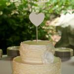 Buttercream ruffles white heart wedding cake