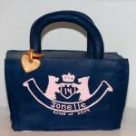 Handbag blue designer graduation cake