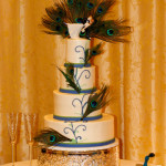 Peacock blue and green wedding cake