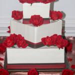 Red roses chocolate square wedding cake