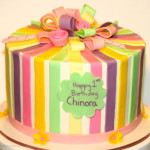 Ribbons and bow birthday cake