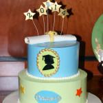 Silhouette girl graduation diploma buttercream cake