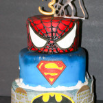 Superhero spiderman superman batman birthday cake