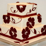 Apple red square butttercream applique wedding cake