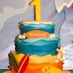 Beach surfing sand waves birthday cake