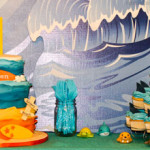Beach birthday cake shark cupcakes