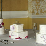 Birch tree trio buttercream wedding cake