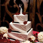 Black red and white draping wedding cake