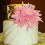Edible gold pink wafer paper flower gathered fabric fondant wedding cake