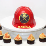 Firefighter hat birthday cake cupcakes