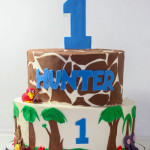 Jungle safari first giraffe birthday cake