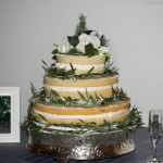 Naked wedding cake olive leaf border