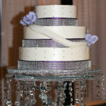 Purple rhinestone engagement buttercream draping cake
