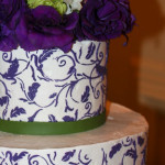 Purple vines and leaves floral wedding cake