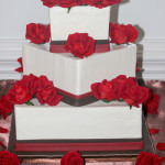 Red roses chocolate square wedding cake