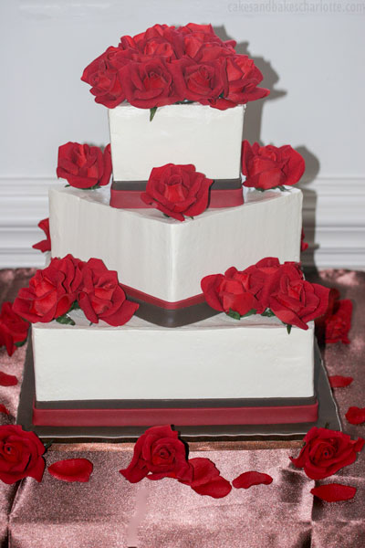 Red Roses Chocolate Square Wedding Cake Cakes Bakes