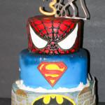 Superhero spiderman superman batman birthday cake