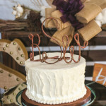 white textured buttercream rustic monogram wedding cake