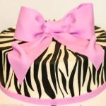 Zebra pink bow cake