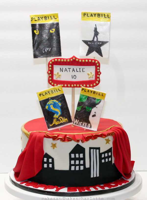 Groovy Broadway Playbill Drama Musical Birthday Cake Red Gold Cakes Bakes Funny Birthday Cards Online Alyptdamsfinfo