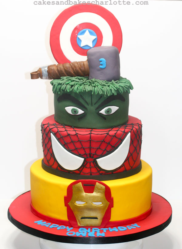 Hulk Avengers Iron Man Thor Spiderman Superhero Birthday Cake